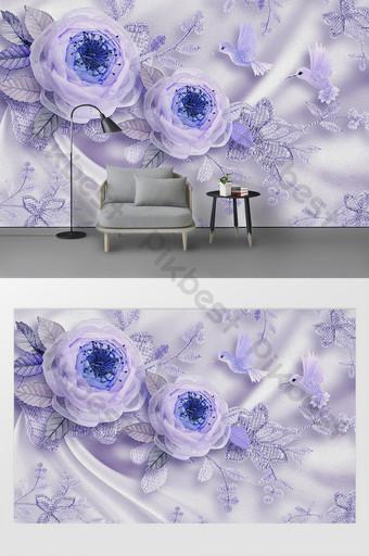 Moderno 3d pintura al óleo sala de bodas flor de seda pájaro encaje tv fondo Decoración y modelo Modelo PSD