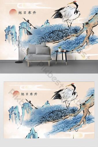 pintura de estilo chino sol naciente la gran muralla tv fondo pared Decoración y modelo Modelo PSD