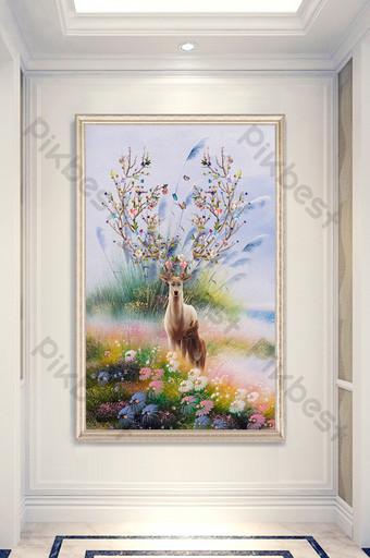 lukisan minyak estetika modern, teras dekoratif bunga rusa Dekorasi dan model Templat PSD