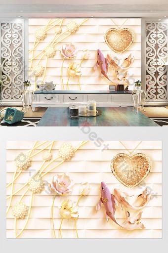 joyería de lujo hermosa perla flor guppy amor tv fondo pared Decoración y modelo Modelo PSD