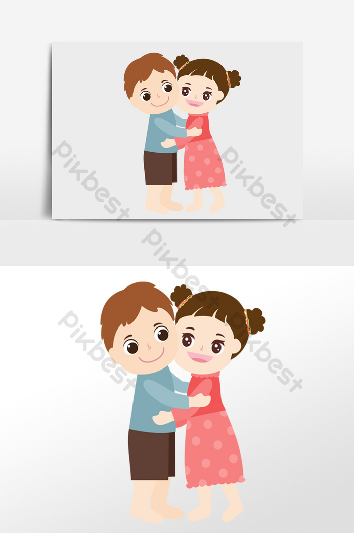 Cute Cartoon Couple Hugging Each Other And Loving Each Other