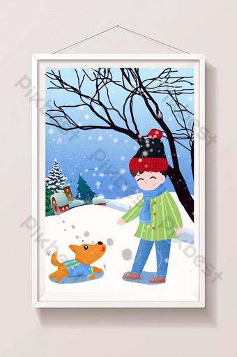 niño pequeño lidong caminando perro nevando sombrero bufanda madera muerta dibujado a mano ilustración Ilustración Modelo PSD