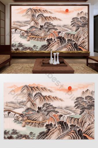 chino feng shui tinta paisaje pincelada sol naciente dongsheng tv fondo pared Decoración y modelo Modelo PSD
