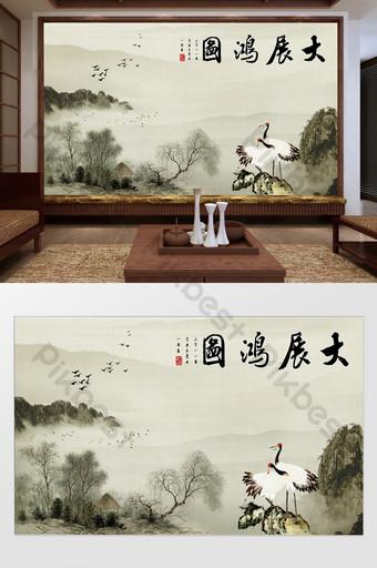 النمط الصيني الجديد يدخن الجبل الأبيض قصائد رافعة خلفية الجدار المعرض الكبير الديكور والنموذج قالب TIF