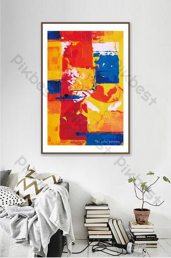 moderno simple rojo amarillo azul abstracto pintura al óleo decoración de la sala de estar Decoración y modelo Modelo PSD