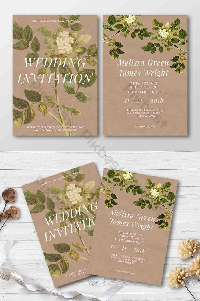 Wedding Invitation Paper Green Plant Flyer Template Psd Free