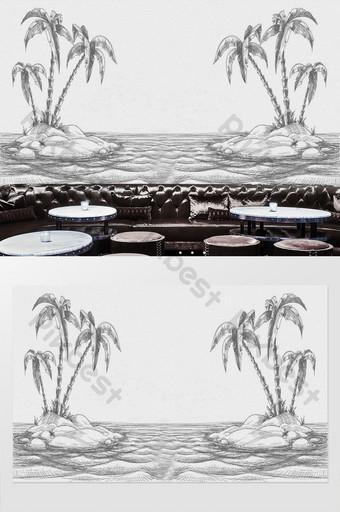 جوز الهند شاطئ البحر رسمت باليد الأدوات الخلفية الجدار الديكور والنموذج قالب PSD