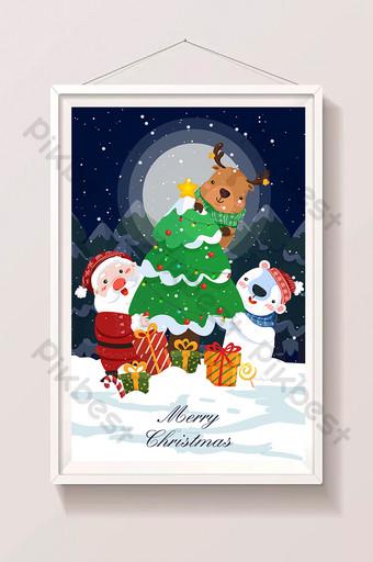 dibujos animados fresco navidad santa elk invierno noche nieve escena ilustración Ilustración Modelo AI