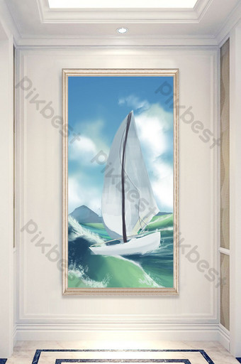 modern drawing high-definition smooth sailing ship bird porch decorative painting Decors & 3D Models Template PSD