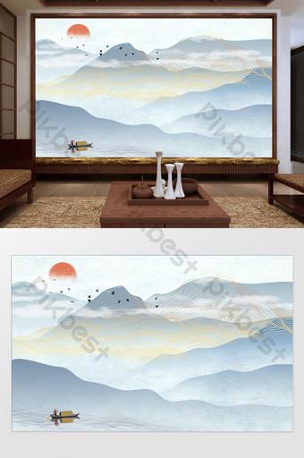 مفهوم فني صيني جديد رسمت باليد خط المناظر الطبيعية انعكاس قارب المنزل التلفزيون خلفية الجدار الديكور والنموذج قالب TIF