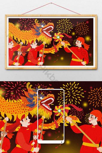 卡通中國新年春節舞龍與煙花圖 插畫 模板 PSD