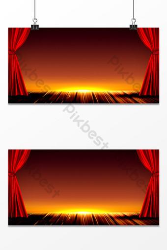 光環舞台紅色絲綢背景圖 背景 模板 PSD
