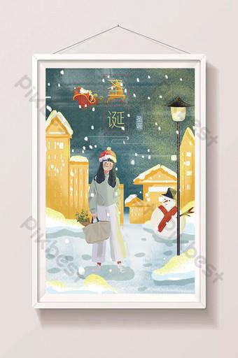 navidad niña muñeco de nieve escena de nieve fantasía dibujos animados dibujados a mano ilustración Ilustración Modelo PSD