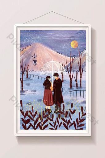 hermosos y frescos pequeños términos solares fríos pareja invierno nieve ilustración Ilustración Modelo PSD