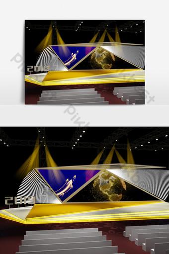 黃色舞台背景3d設計模型 裝飾·模型 模板 MAX