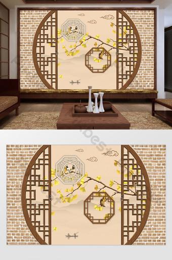 تصور فني صيني جديد مؤطر نحت الخشب شاشة الجنكة زهرة والطيور التلفزيون خلفية الجدار الديكور والنموذج قالب TIF