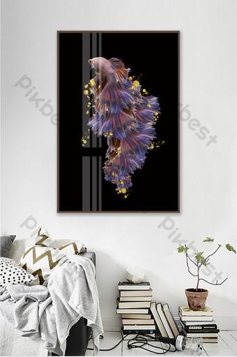 簡歐動物魚客廳酒店臥室水晶瓷器裝飾畫 裝飾·模型 模板 PSD