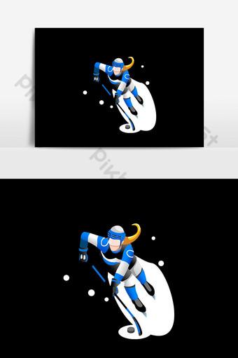 elementos de diseño de esquí de nieve de dibujos animados Elementos graficos Modelo AI