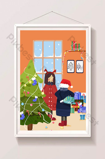 Warm snowy christmas eve friends giving gifts illustration Illustration Template PSD