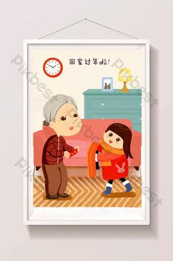 abuela y nieta de año nuevo envían una bufanda al sobre rojo vete a casa para el año nuevo ilustración dibujada a mano Ilustración Modelo PSD