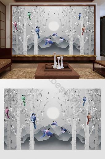 النمط الصيني الأنيق أبيض وأسود الإبداعية الغابات المناظر الطبيعية الطيور التلفزيون خلفية الجدار الديكور والنموذج قالب PSD