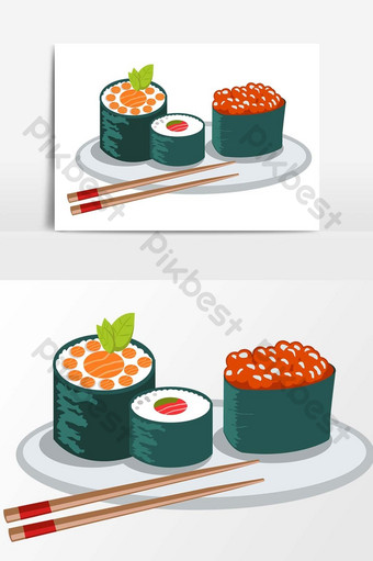 cartoon seaweed wrapped rice design element PNG Images Template AI