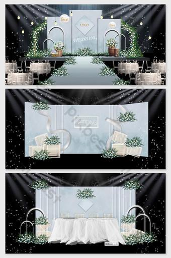 imagen de efecto de boda de personalidad moderna bosque simple azul Decoración y modelo Modelo PSD