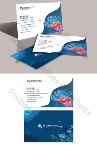 Carte de visite créative dessinée à la main pour le marché mondial des fruits de mer sous-marin Modèle PSD