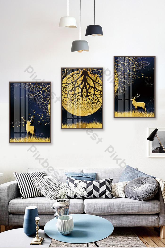 簡歐抽象森林風景酒店客廳臥室水晶瓷裝飾畫