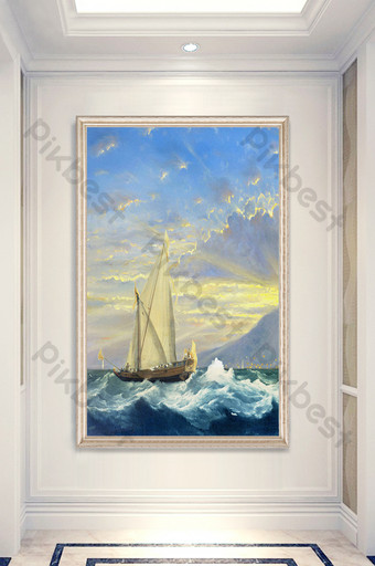 Classical oil painting sailboat porch decoration customization Decors & 3D Models Template PSD
