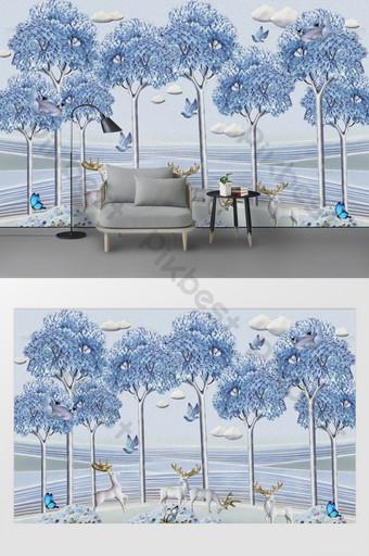 الحديث الشمال 3d الغابات الأيائل الطيور فراشة التلفزيون خلفية الجدار الديكور والنموذج قالب PSD
