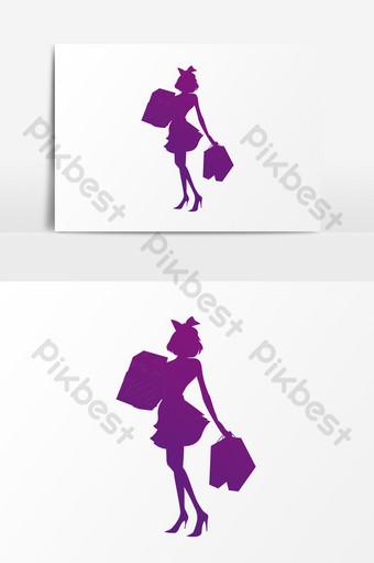 mujer de compras púrpura rojo silueta psd Elementos graficos Modelo PSD
