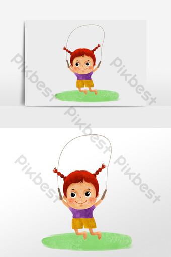 ألوان مائية مرسومة باليد فتاة صغيرة القفز على الحبل حرف التوضيح الرسم التوضيحي قالب PSD