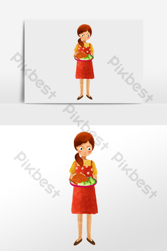 watercolor drawing girl serving dishes and cooking illustration character Illustration Template PSD