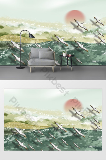 modern beautiful artistic conception painted sea beach wild goose sunset background wall Decors & 3D Models Template PSD