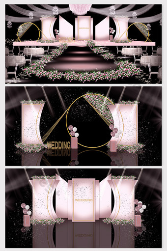 Fresh and simple European-style pink series wedding renderings Decors & 3D Models Template PSD