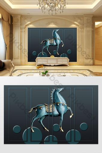 3d الإغاثة الحديثة تشغيل الحصان التلفزيون خلفية الجدار الديكور والنموذج قالب PSD