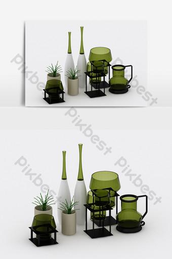 النمط الصناعي الحديث الزيتون الأخضر الزجاجي تأثيث مزيج نموذج ثلاثي الأبعاد الديكور والنموذج قالب MAX