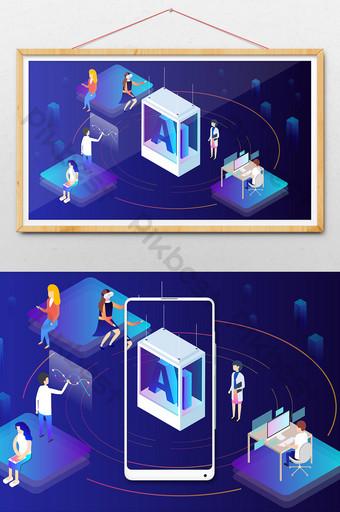 AI artificial intelligence office work scene 2 5D illustration Illustration Template AI