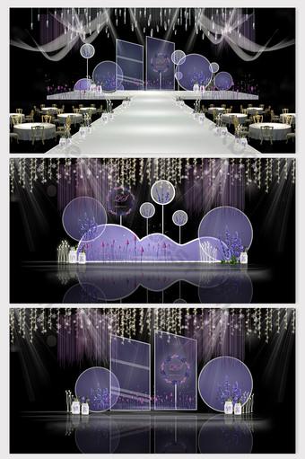 Romantic Lavender Purple Series Theme Wedding Effect Picture Decors & 3D Models Template PSD