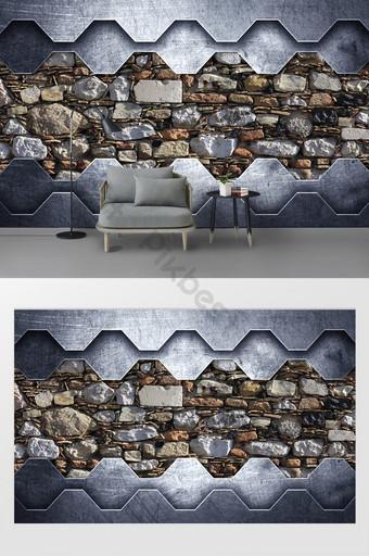 جديد الحديثة الرجعية الحديد المطاوع نسيج الجدار الخلفية الديكور والنموذج قالب PSD