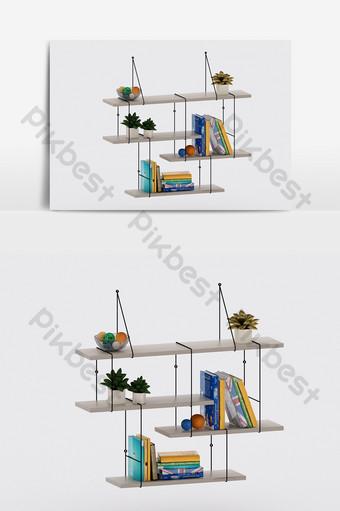 الحديث رف الرياح الصناعي رف الكتب تأثيث الحلي مزيج نموذج ثلاثي الأبعاد الديكور والنموذج قالب MAX