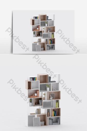 النمط الصناعي الحديث أثاث خزانة الكتب على شكل خاص نموذج ثلاثي الأبعاد الديكور والنموذج قالب MAX