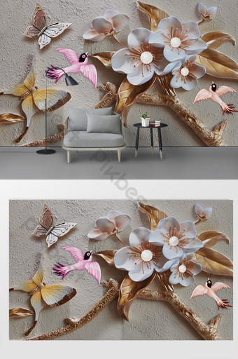 الموضة الحديثة 3d تنقش زهرة فراشة الطيور التلفزيون خلفية الجدار الديكور والنموذج قالب PSD