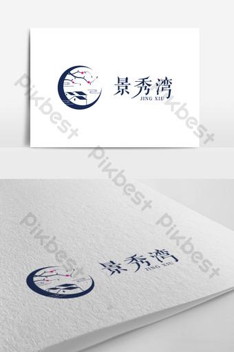 中國文藝風光景區旅游標志設計 模板 AI