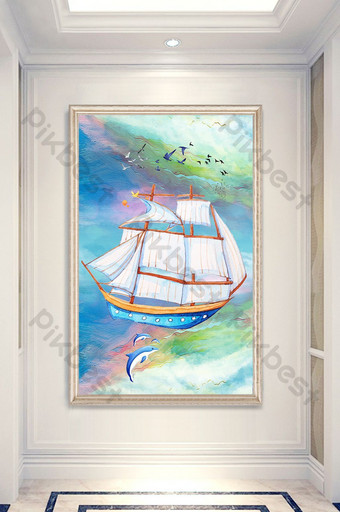 3D stereo relief sailboat porch decorative painting Decors & 3D Models Template TIF