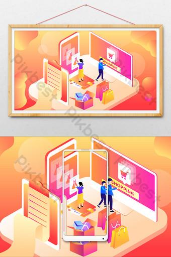 festival de compras doble 11 12 gradiente en línea 2 5d ilustración Ilustración Modelo AI
