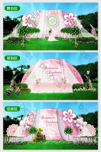 في الهواء الطلق العشب الوردي الأميرة نمط تأثير الزفاف الرومانسية الصورة الديكور والنموذج قالب PSD