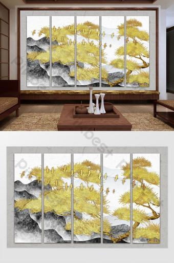中國水墨山水風景紋理松樹鳥電視背景牆 裝飾·模型 模板 PSD