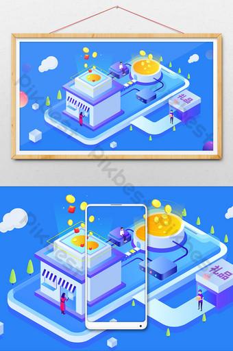 festival de compras de sentido de tecnología tienda en línea evento 2 5d ilustración Ilustración Modelo AI